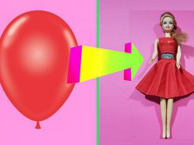 DIY Barbie Dresses with Balloons Making Easy No Sew Clothes for Barbies Creative