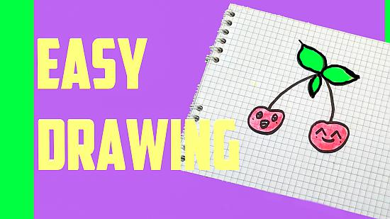 How to draw a cute cherry